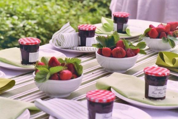 Centros de mesa con fresas