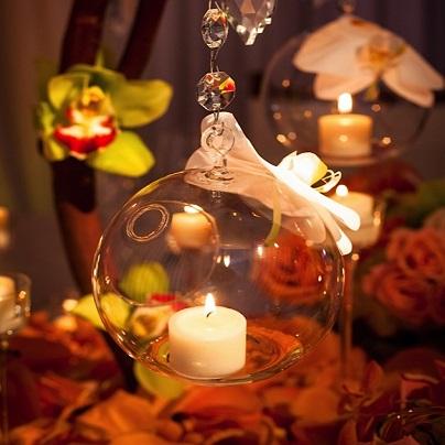 centros de mesa con bolas colgantes de cristal la calenita