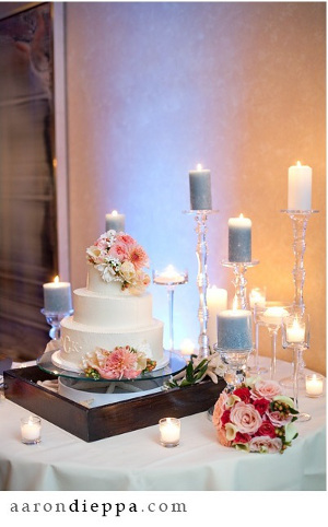 mesa de torta de bodas decorada con velas
