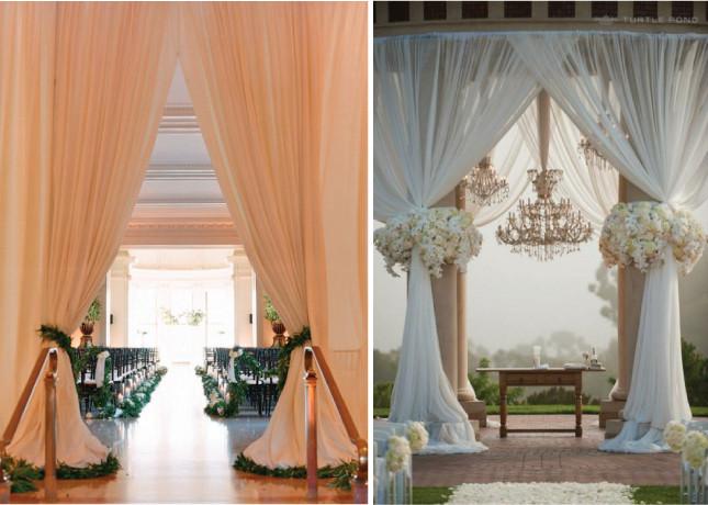 Decoraci n con colgaduras en bodas for Bases para colgar cortinas