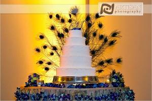 ambientacion de bodas con los colores del pavo real