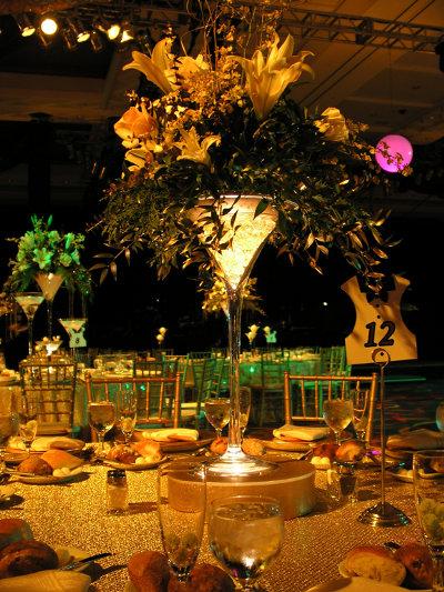copas de coctel de martini gigantes centros de mesa