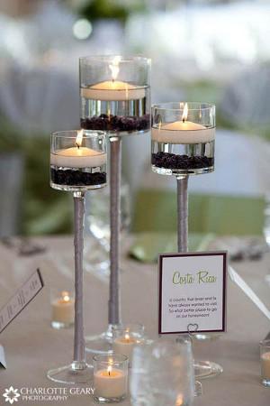 centros de mesa con velas para recepciones de bodas