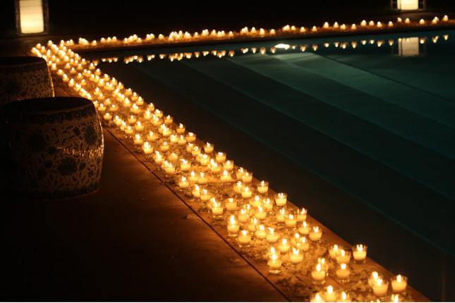 Decoraciones de piscinas para bodas for Velas flotantes piscina