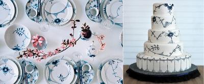 torta de boda decorada con diseño de vajilla