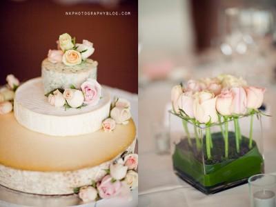 Torta de boda hecha de quesos