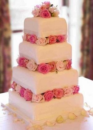 tortas de bodas con flores entre niveles ananda cali
