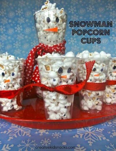 Creative Kid Snacks Snowman Popcorn Cups