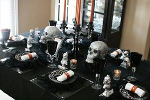 Decoracion de halloween con calaveras