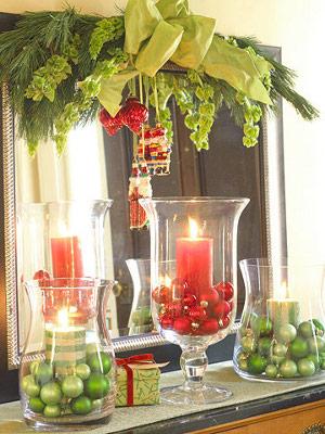 Adornos de navidad en recipientes de vidrio transparente - Decoracion de jarrones de cristal ...