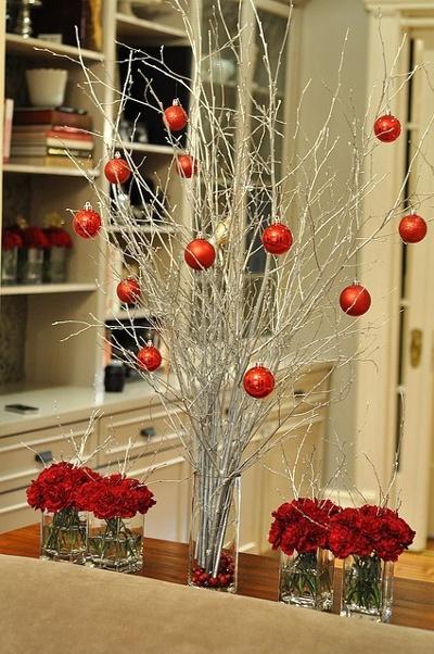 Centros de mesa navide os con ramas de rbol for Centros navidenos