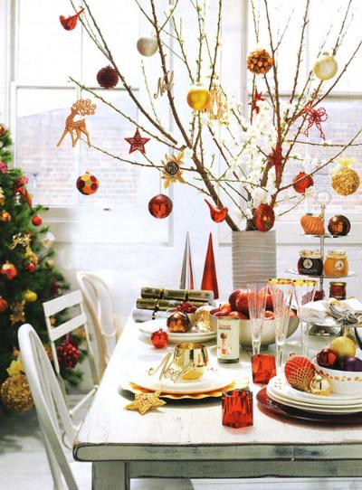 Centros de mesa navide os con ramas de rbol for Centros de mesa navidenos elegantes