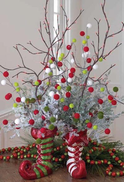 Decoracion Jarrones Para Navidad ~ Centros de mesa navide?os con ramas de ?rbol  LaCelebracion com