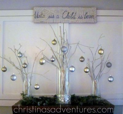 Centros de mesa navide os con ramas de rbol - Centros de mesa navidenos faciles ...
