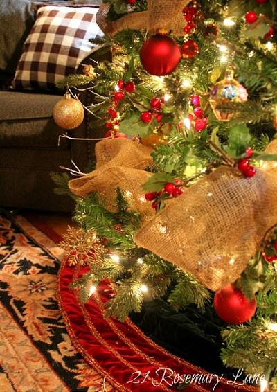6 decoraciones con cinta de arpillera - Arbol de navidad tela ...