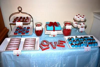 decoracion de amor y amistad rojo blanco y azul