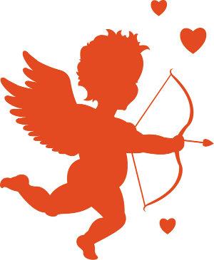 decoracion de amor y amistad silueta de cupido