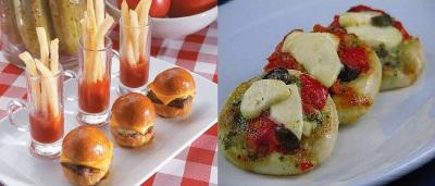 mini hamburguesas y mini pizzas para fiestas y eventos
