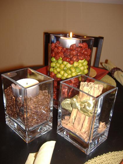 Centros de mesa con granos de caf for Mesas de cafeteria