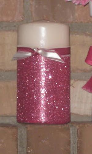 velas decoradas con purpurina escarcha o brillantina para fiestas y eventos