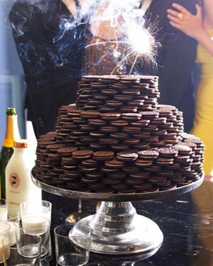 torta de galletas oreo apiladas