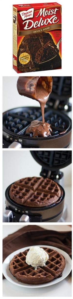 waffle hecho con mezcla de torta lista para hacer